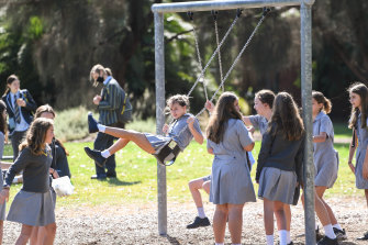Albert Park College students at Gasworks Park. Resident complaints mean they could soon be restricted to a much smaller section of the park.