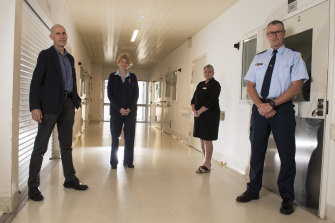 From left: Clinical director Dr James Blogg, clinical nurse Jacqueline Clegg, service director Colette Mcgrath and governor of Long Bay prison Jason Hodges.