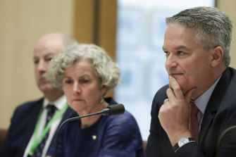 Minister for Finance Mathias Cormann, right, and Department of Prime Minister and Cabinet official Stephanie Foster appear before Senate estimates.