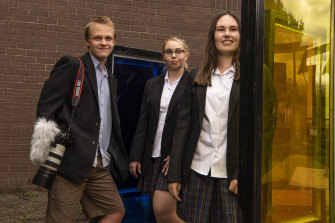 Kellyville High School students, Ryan Dagg, year 10, Karina Pancuka, year 12 and year 11's Emma Stocker. Over the last two years the team has been working on a film based on many stories about the Stolen Generation.