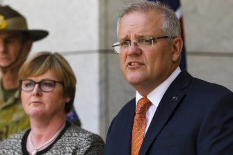 Defence Minister Linda Reynolds and  Prime Minister Scott Morrison during the press conference on January 4.