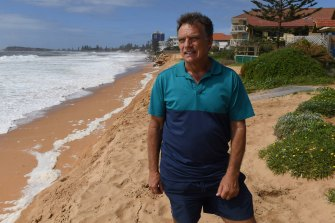 Collaroy resident Gary Silk after erosion to the coastline in February.