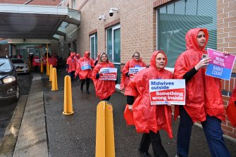 Nurses and midwives protest staffing levels at Liverpool Hospital on Thursday.
