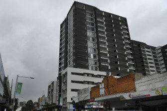 """The 16-storey apartment tower in Auburn has been described by the NSW Building Commissioner as """"probably the worst"""" he's seen."""