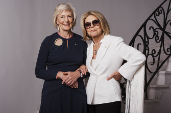 Ms Broadbent with her friend Carla Zampatti at the designer's home in 2018.