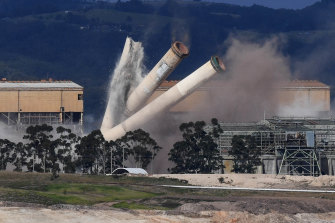 The eight chimneys on the former Hazelwood Power Station are demolished with explosives.