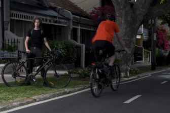 University student Jed Finnane beside the Wilson Street cycleway in Redfern.