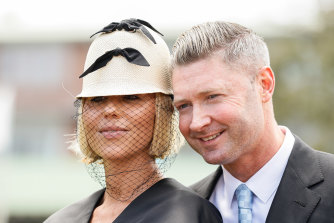 Too much: Pip Edwards and Michael Clarke.