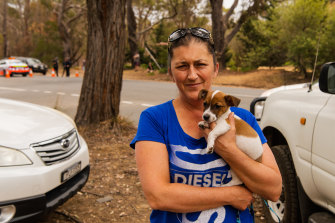 Lorie Kavanagh, with her puppy, Archie, waits at the roadblock on the road into Buxton and other fire-affected communities.