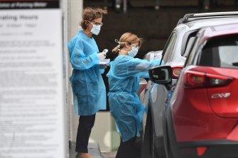 A 'drive-through' virus testing clinic.