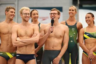 Australian swimmer Mack Horton speaks during the Australian 2020 Tokyo Olympic Games Swimming Uniform Launch.