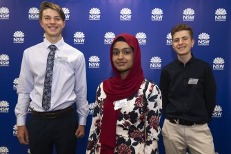 Year 11 students Jack Coleman of Fort Street High School, Manal Khan of Amity College and Joshua Abelev of Cranbrook School were equal first in Mathematics Advanced, having sat the exam a year early. Guozhen Wu (not pictured), a year 12 student from Reddam House, also tied first.
