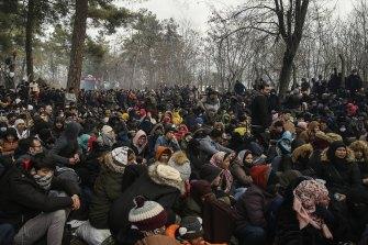 Migrants at the Pazarkule border gate, Edirne, Turkey.