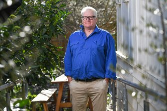 In real life, William McInnes - photographed here in the courtyard garden of the Somers General Store - is riotously good company.