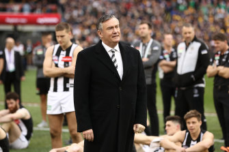 Eddie McGuire choked back tears when he announced he'd be stepping down.