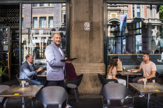 QVB Jet Bar manager John Checchia says outdoor dining will help boost George Street's appeal.