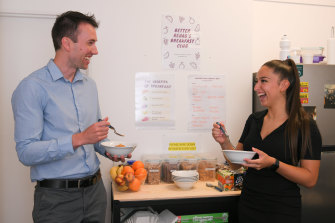 Better Rehab's Kyle Platek and Jenna Cardamone have been enjoying free daily team breakfasts.