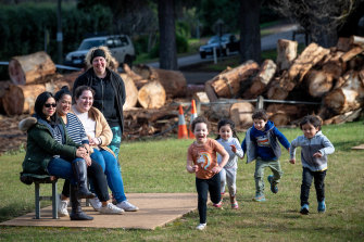 Mount Dandenong residents (from left) Nessa Aledo, Karen Placido, Jody Howell and Christine Stewart with their children Lucy, Lily, Riley and Hugo.