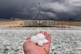 Golf ball-sized hail blankets the lawn in front of Parliament House, Canberra.