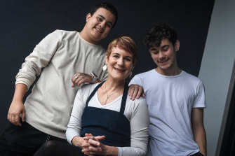 Kirsty Sword Gusmao at home in Melbourne with her sons Daniel, left, and Alexandre.