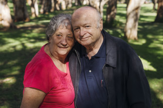 Tom Wolf with his wife Sandy Wolf. Mr Wolf was discharged from St Vincent's ICU on Anzac Day.