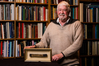 Ross Pratley owns a small part of the keel from HMB Endeavour, which will be auctioned in Sydney this month.