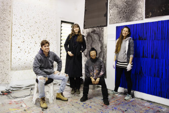 Australian artist Lindy Lee at her studio with assistants Demian Burman, Zoe Wesolowski-Fisher and Angelika Stepanova in Coorabell, Northern NSW, in the Byron Bay hinterland.