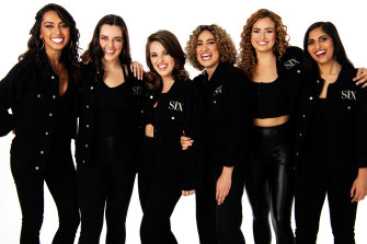 The six stars of SIX, from left: Chloe Zuel, Kala Gare, Loren Hunter, Kiana Daniele, Courtney Monsma, Vidya Makan.