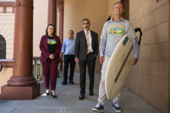Shellharbour MP Anna Watson with protest leaders Peter Moran, John Davey and Chris Homer outside NSW Parliament House.