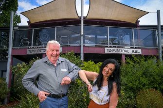 Templestowe RSL president Ron Twining and Manningham councillor Michelle Kleinert after the deal to buy the club.