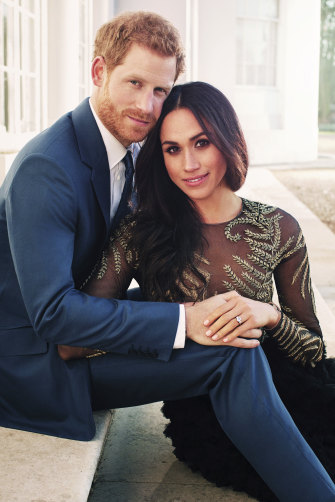 The official engagement photo in which Markle wore a Ralph & Russo gown.