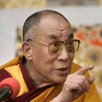 The Dalai Lama during a press conference in Dharamshala in March 2008.