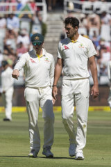 Nadir: Steve Smith with Starc during the infamous Cape Town Test.