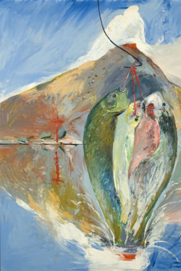 """Arthur Boyd's 1993 painting """"Peter's Fish And Crucifixion""""."""