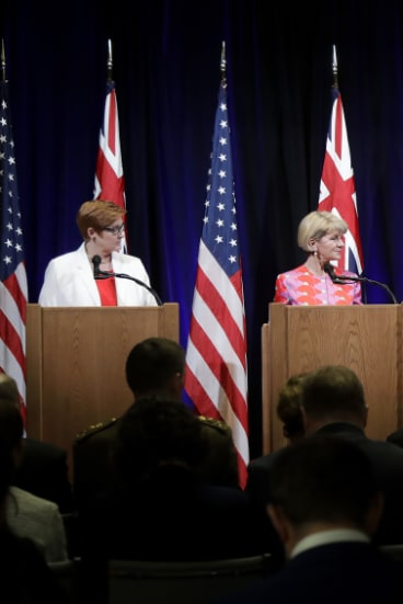 Defence Minister Marise Payne and Foreign Minister Julie Bishop during a press conference with their US counterparts early on Wednesday.