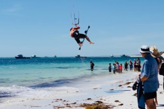 A kite surfer at the 2018 Lancelin Ocean Classic, held at Lancelin Bay, about 3 kilometres from the proposed plant site.
