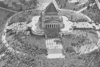 Aerial view of the crowds in front of Shrine after Japan's surrender.