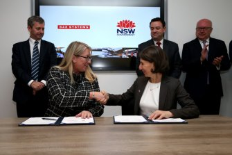 BAE Systems Australia CEO Gabby Costigan has signed an MOU with NSW Premier Gladys Berejiklian and Jobs Minister Stuart Ayres.