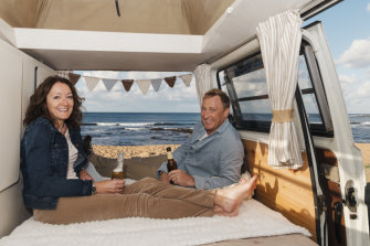 Jonathan Griffiths and his wife Louisa in their restored Kombi van, which they hire out through Camplify.
