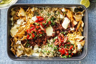 Beef taco rice traybake with spicy avocado dressing