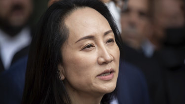 Meng Wanzhou, chief financial officer of Huawei, reads a statement outside B.C. Supreme Court in Vancouver, British Columbia, Friday, September 24, 2021.
