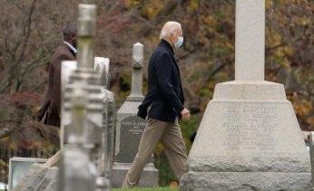 President-elect Joe Biden leaves St. Joseph on the Brandywine, Roman Catholic Church in Wilmington, Delaware.