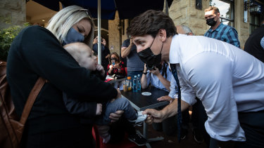 Justin Trudeau campaigning for re-election in British Columbia.