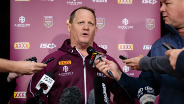 Confident: Kevin Walters facing the media in Perth on Monday.