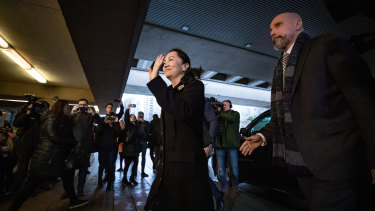 Meng Wanzhou arrives at the Supreme Court in Vancouver.