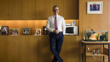 """Self-confessed """"fish man"""" NSW Opposition Leader Michael Daley in his office at Parliament House."""