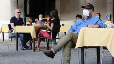 Residents enjoy the ritual of the outdoor aperitif in the bars of the city after more than two months of lockdown in Rome, Italy.