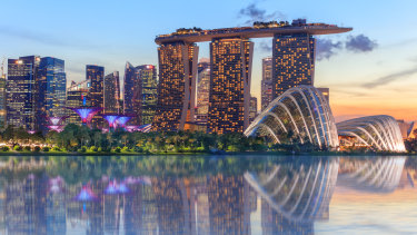 Singapore, with the Supertree grove and Marina Bay Sands front and centre.