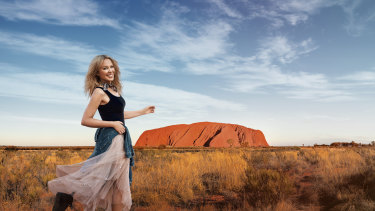 Kylie Minogue at Uluru in the new Tourism Australia campaign.