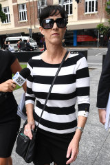 Sharon Oxenbridge, the wife of Wulff, arrives at the District Court in Brisbane.
